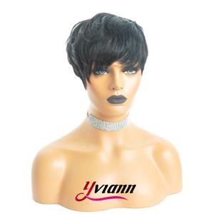 pixie cut human hair wigs short black wigs brazilian human hair wigs short layered wavy wigs bangs