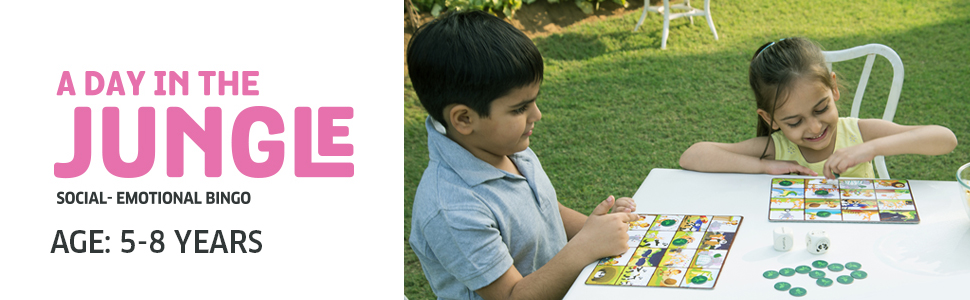 A day in the jungle Game, a twist on classic tambola. Teach children manners and emotions.