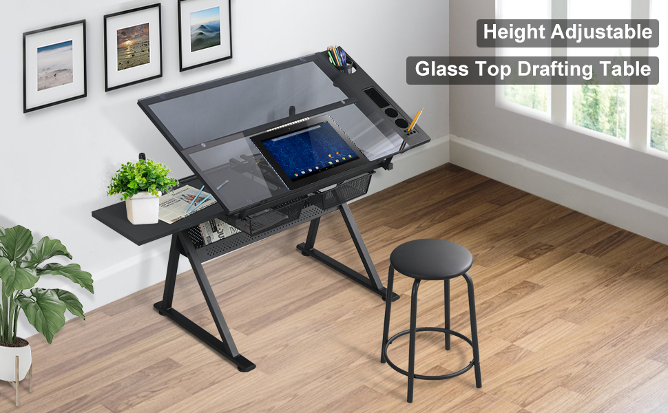 Height Adjustable Glass Top Drafting Table