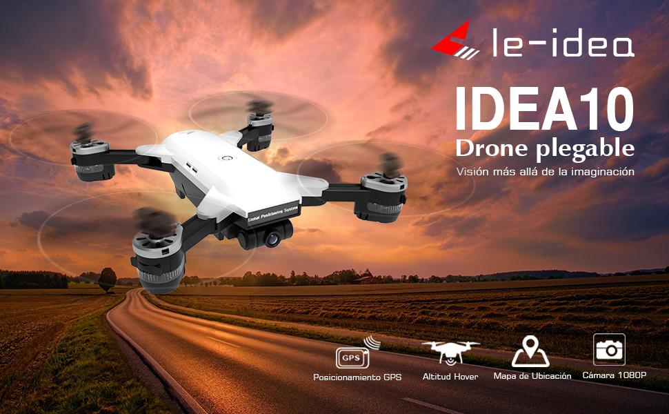 le-idea IDEA10 Drone GPS, WiFi FPV Quadcopter con Cámara 1080P HD ...