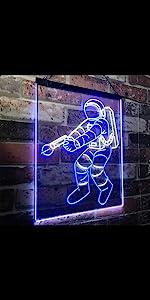 ADVPRO Dual Color LED Neon Sign Cosmos Space Astronaut Spaceman Shuttle Planet Moon Explore