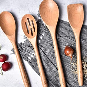 kitchen cooking utensil set beech wood Non Scratch natural turner slotted spoon spatula kitche tool