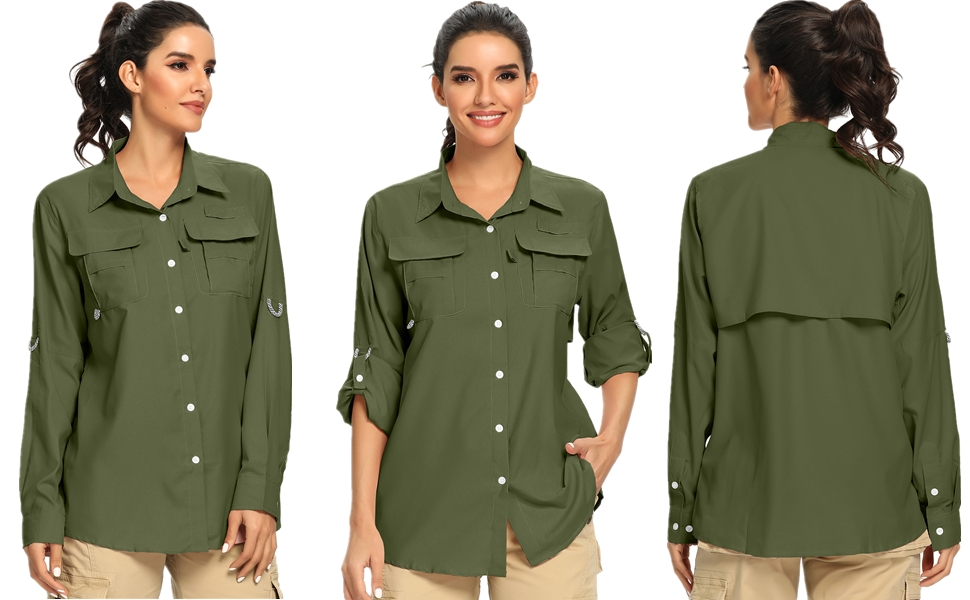 UV Sun Protection Safari Shirt Long Sleeve Outdoor Cool Quick Dry Fishing Hiking Clothing Asfixiado Womens UPF 50