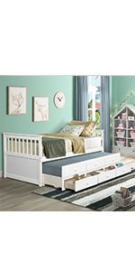 Twin Beds with Trundle and Drawers