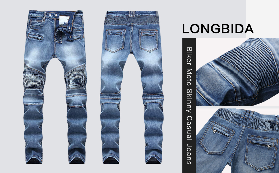 blue biker jeans for men moto denim stretch skinny design holes fashion ripped distressed hip hop