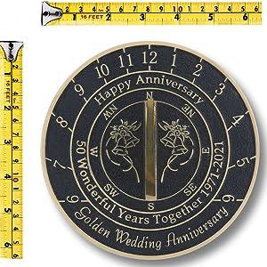 golden wedding anniversary sundial sizing