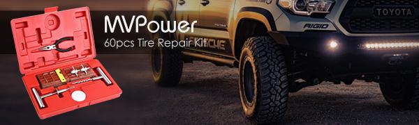 Prom-note 11Pcs Temporary Puncture Repair Kit,Emergency Car Van Motorcycle Tubeless Tyre Puncture Repair Kit,Heavy Duty Tubeless Tire Puncture Repair Kit Plug Set Tyre Repair Kit