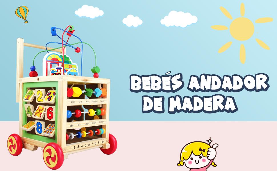 Andador Correpasillos Bebe Juguetes 1 2 3 Año,7 en 1 Actividad Andadores para Bebes Carrito de Primeros Pasos Juguete Madera con Laberinto de Cuentas ...