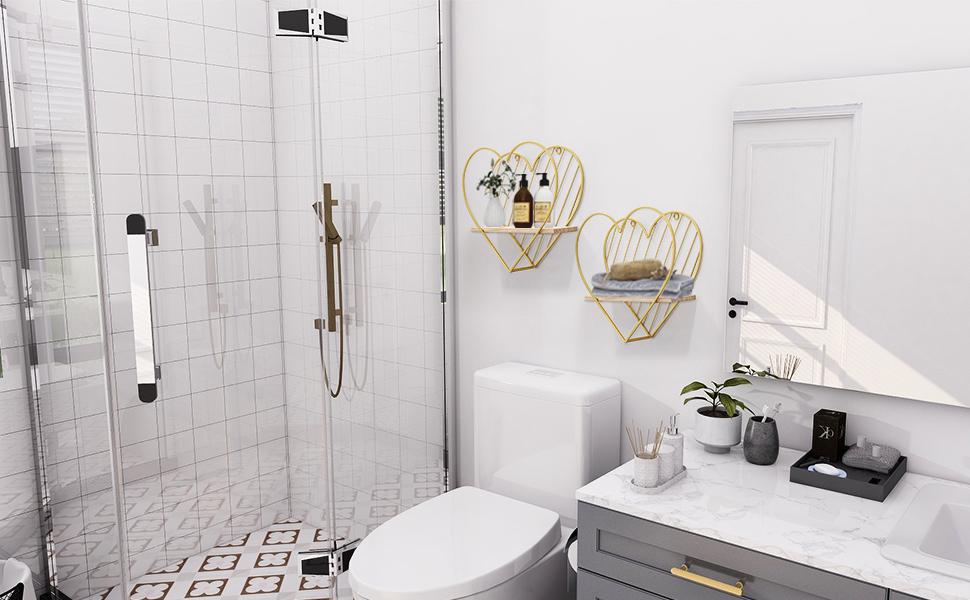 wall shelf in bathroom