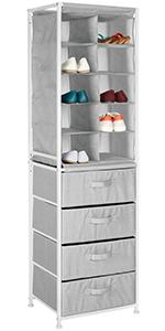 Soft Fabric Shoe Tower & 4 Drawers Organizer Combination Unit Handle