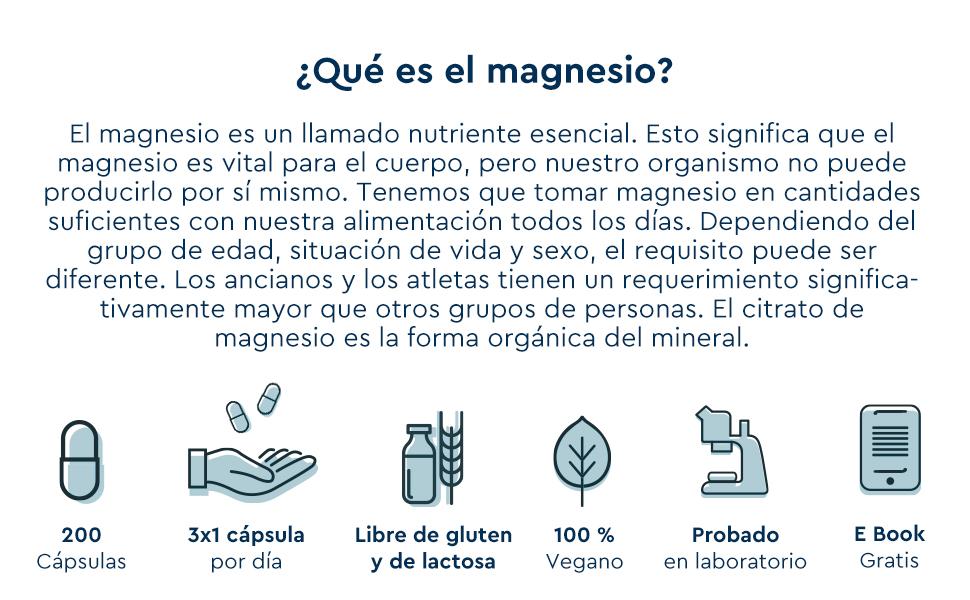 Citrato de Magnesio - 200 Cápsulas Veganas - 2400mg que Proporciona 380mg Alta Dosis de Magnesio Elemental - Alta Dosificación y Alta Bioactivdad - ...