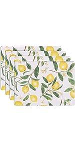 KAF Home Lemon Print Cork Backed 4 Piece Place Mat Set