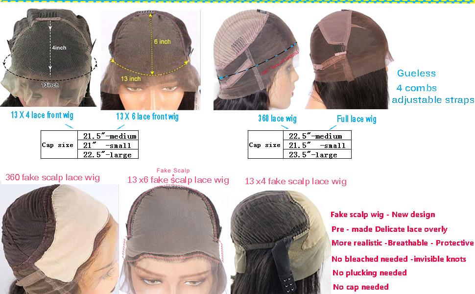 fake scalp lace wigs