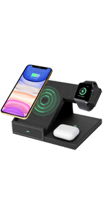 Fast wireless charging phone iWatch AirPods earbuds easy clean tidy desktop home office Durable