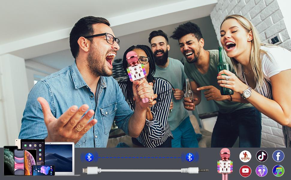 Wireless Bluetooth Karaoke Microphone LED Lights Portable Handheld Christmas Birthday Android iPhone