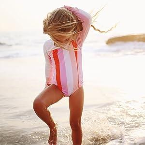 girls surf suit long sleeve body suit swimsuit swimzip upf 50+ uv sun protection swimwear