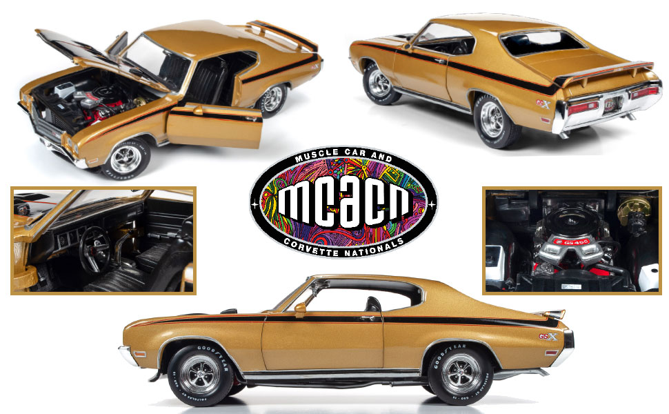 AUTO WORLD, AMERICAN MUSCLE, 1:18 DIE-CAST, MUSCLE CAR AND CORVETTE NATIONALS, REPLICA, CORTEZ GOLD