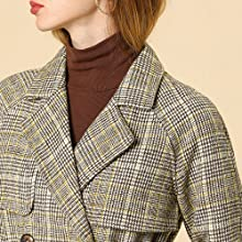 Women' Raglan Sleeve Belted Notched Lapel Plaids Trench Coat Brown
