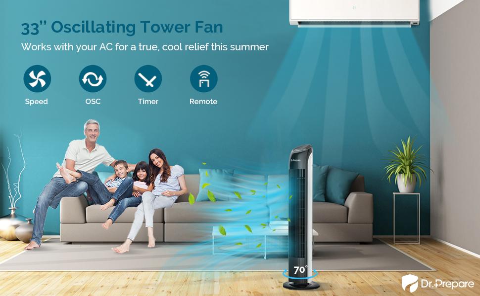 33in oscillating tower fan