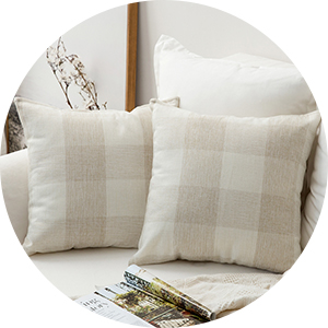 cotton linen throw pillow cover decorative bedding white ivory cream square soft with zipper