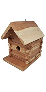 Wakefield Premium Handmade Birdhouses Hanging Cedar Log Cabin