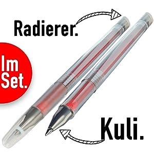 Kugelschreiber Radierer radierbar löschbar Ersatzminen woohoo4u