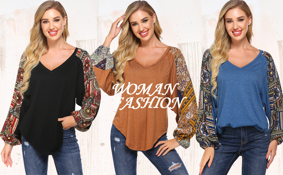 Womens Boho Floral Patchwork Blouse Top Long Sleeve Casual Pullover Jumper Loose