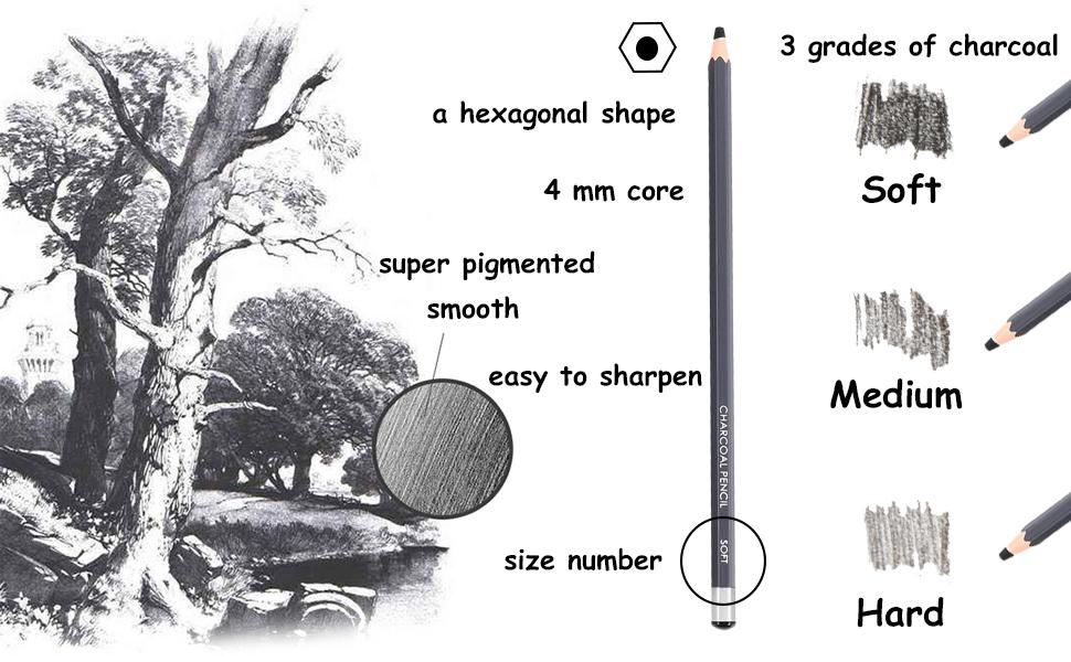 charcoal drawing pencils set sketch pencils, sketching pencils, pencils for shading
