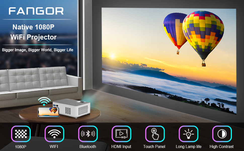 FANGOR wifi 1080p hd projector