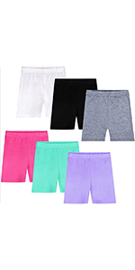 Auranso Girls Dance Shorts Breathable and Comfy Kids Cycling Shorts 6 Pack Stretchy Dancing Bike Pants for Girl Sports Play Underdress 2-11 Years