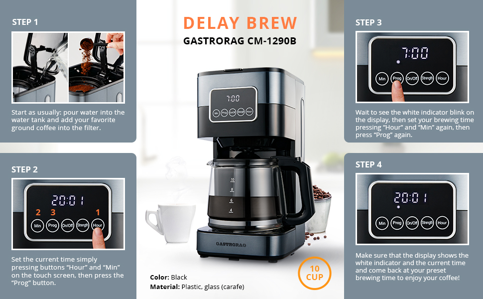 delay brew function instruction 24 hours programmable steps
