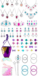 Girlâ S Jewelry Dress Up Play Watinc 46 Pack princesse semblant Bijoux Jouet