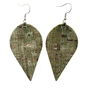Floral Faux Leather and Cork Hypoallergenic Earrings