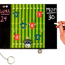 Image of player using chalk on the attached chalkboards