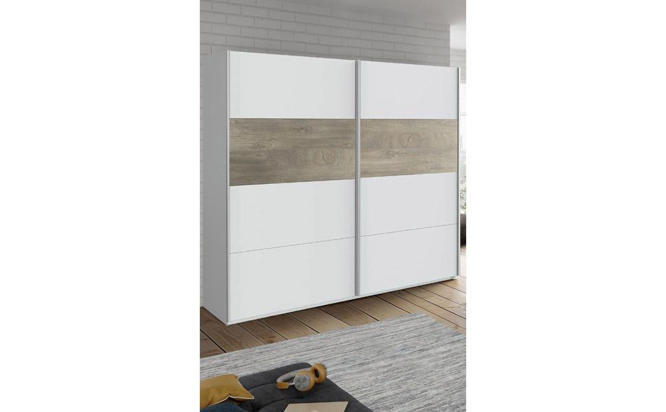 Habitdesign ARM182A - Armario 2 Puertas Correderas para Dormitorio o Habitación, Modelo Aikos, Acabado en Blanco Artik y Roble Alaska, Medidas: 180 cm (Largo) x 200 cm (Alto) x 60 cm (Fondo):
