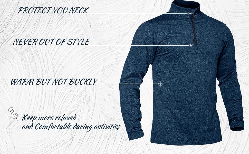 athletic shirts mens quarter zip pullover shirts men long sleeve shirt men jogging hiking shirts men