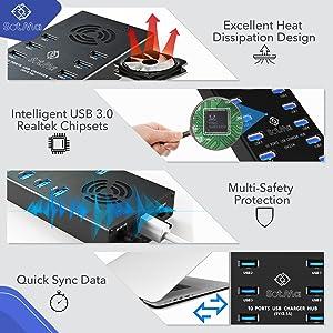 10 port usb hub 3.0 splitter big power charger