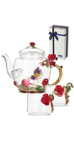 glass fancy tea set
