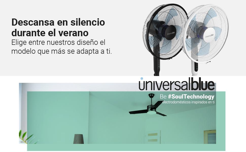 UNIVERSALBLUE | Ventilador de pie Silencioso Negro | Mando a ...