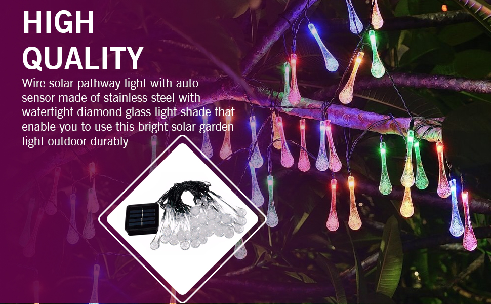 Epyz Solar lamp for Home String Lights 30 LED Decorative Lighting Crystal Water Drop for Garden Home
