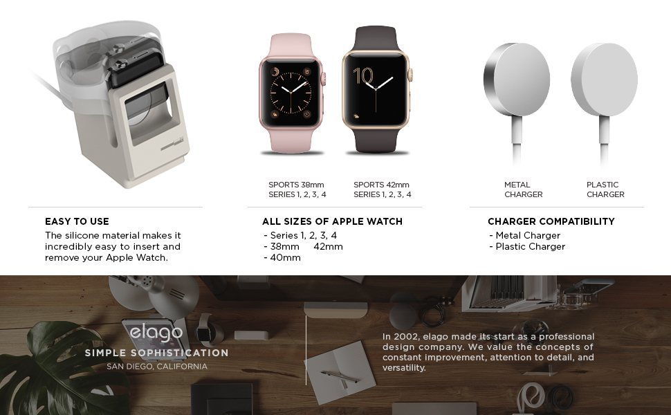 elago W3 Stand (White) for Apple Watch Series 4 (40mm), 3, 2, 1, 42mm,  40mm, 38mm - Nightstand Mode, Original Design Awards, Patent Pending