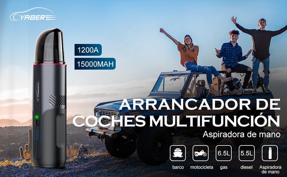 YABER Arrancador de Coches, 15000mAh 1200A Arrancador de Baterias de Coche 5000Pa Aspirador de Mano Sin Cable con 2 Cepillos Arrancador Coch Diesel para 6.5L Gasolina o 5.5L Diesel: Amazon.es: Coche y