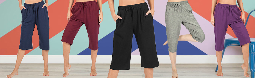 Womens Sport Yoga Lounge Indoor Pajama Pocketed Walking Cropped Pants,Casual Loose Wide Leg Pants Homewear Comfy Pants