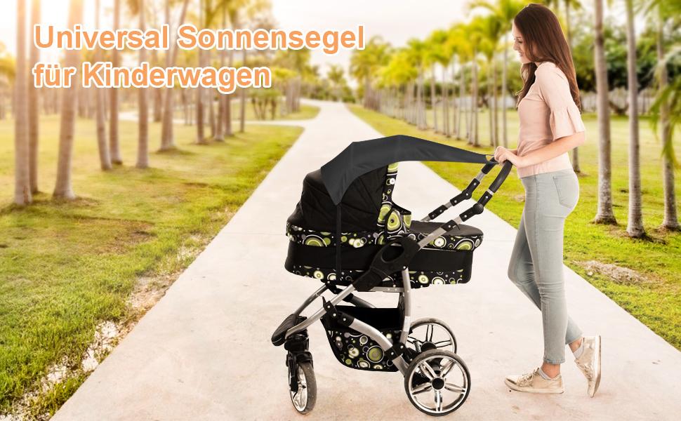poussettes et nacelles poussettes RIOGOO Universal Pram Sunshade Shade voile pour poussettes parasol//auvent avec protection UV 50+ protection solaire Noir