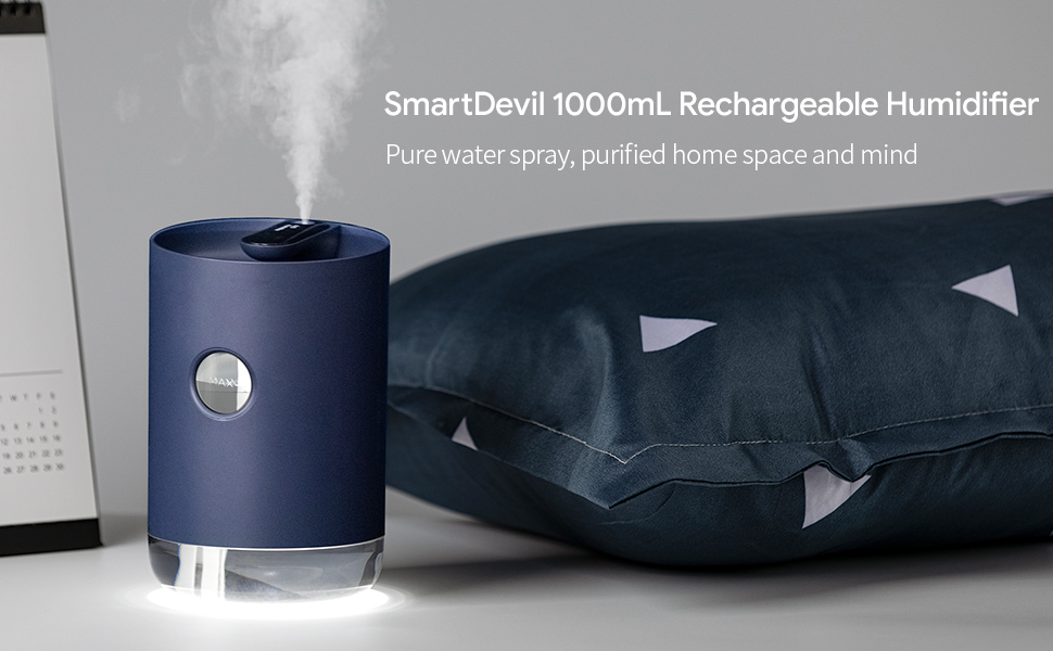 SmartDevil 1000ML Humidifier,air humidifier,Digital Display Humidifier with 3000mAh Battery Operated, Night Light Features, Auto Shut Off, Babies