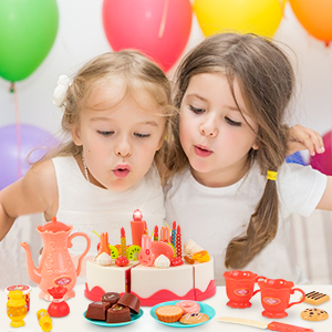 play food food tea party set for little girls pretend play for kids birthday cake toy
