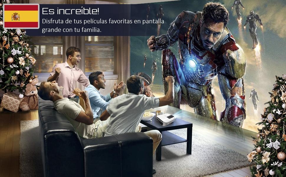 Proyector led, Artlii Proyector HD, Proyector Cine en Casa,Soporte 1080p Full HD, HDMI x 2, AV, USB, VGA, SD Conexiones (Negro)
