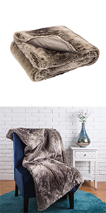 """50""""*60"""" Faux Fur Throw/Blanket, Ombre Grey (Face Fabric  770gsm; Back 180gsm)"""