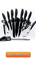 Kitchen Chef Knife Set Sharpener Chefs Cheese Knife Sharpener, Scissors Six Steak Knives Knife Block