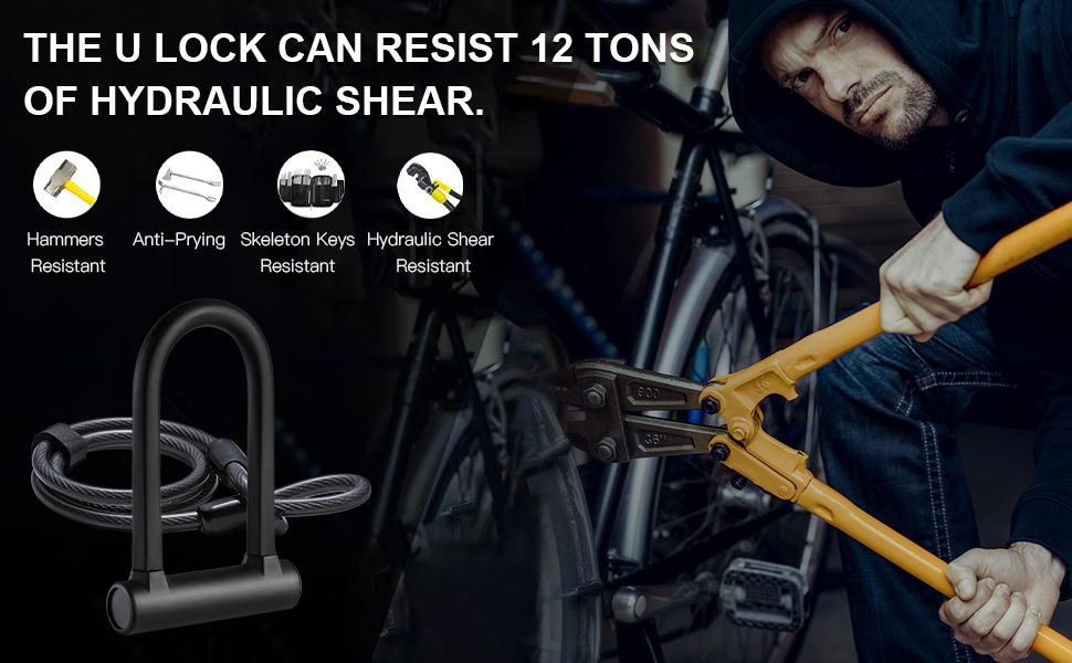 Bike Lock Heavy Duty Bicycle U Lock Secure Lock with Mounting Bracket T4T9